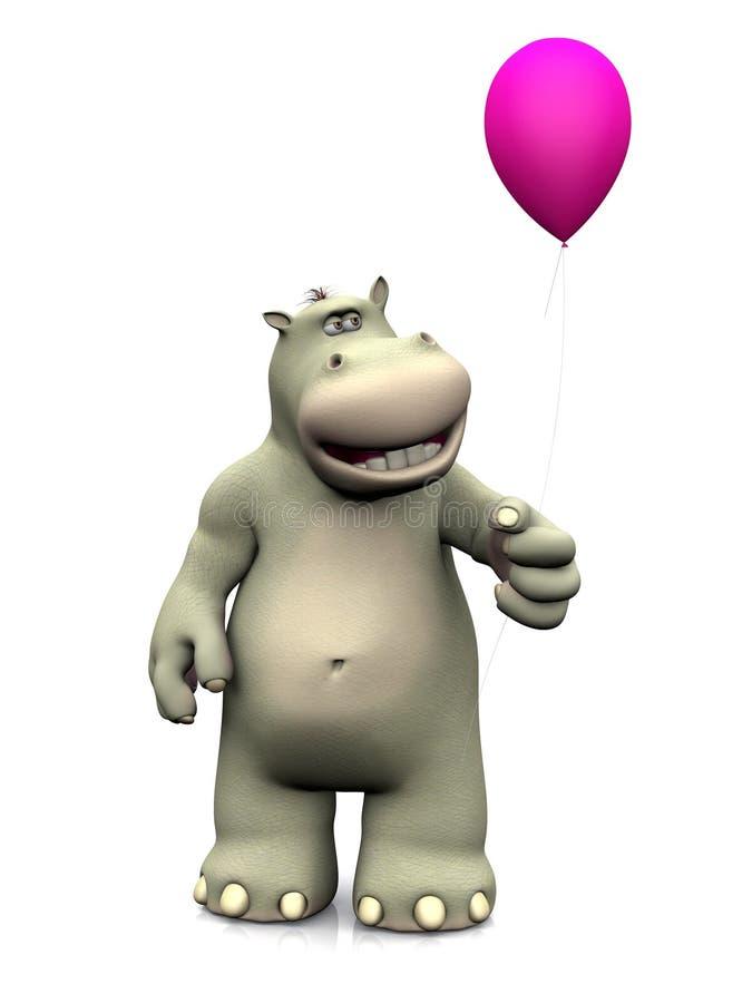 Hipopótamo dos desenhos animados que guarda um balão ilustração stock