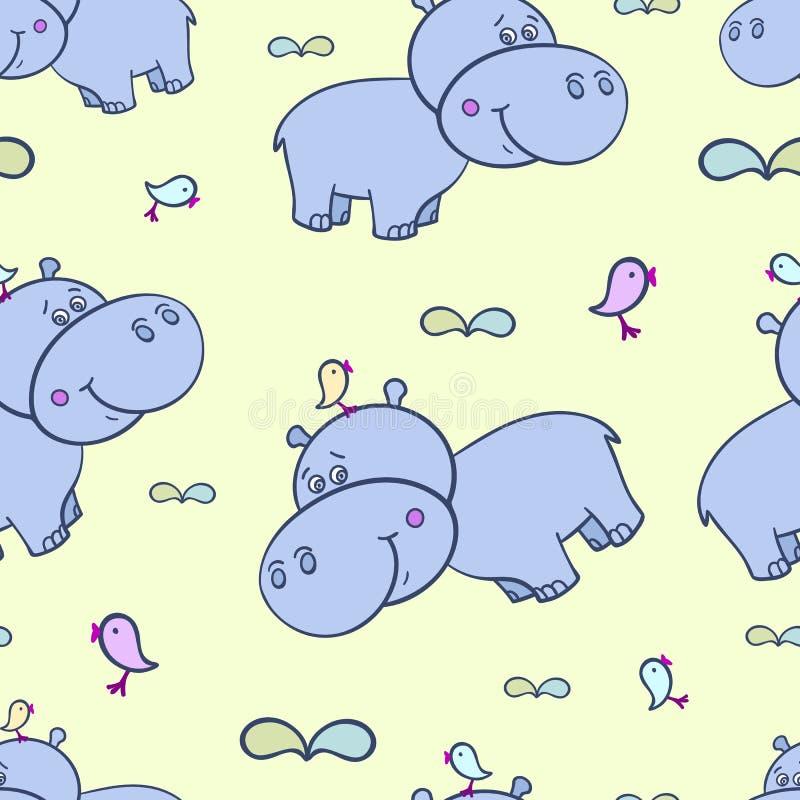 Hipopótamo e bird-01 ilustração do vetor