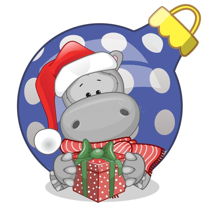 Hipopótamo em um chapéu de Santa ilustração royalty free