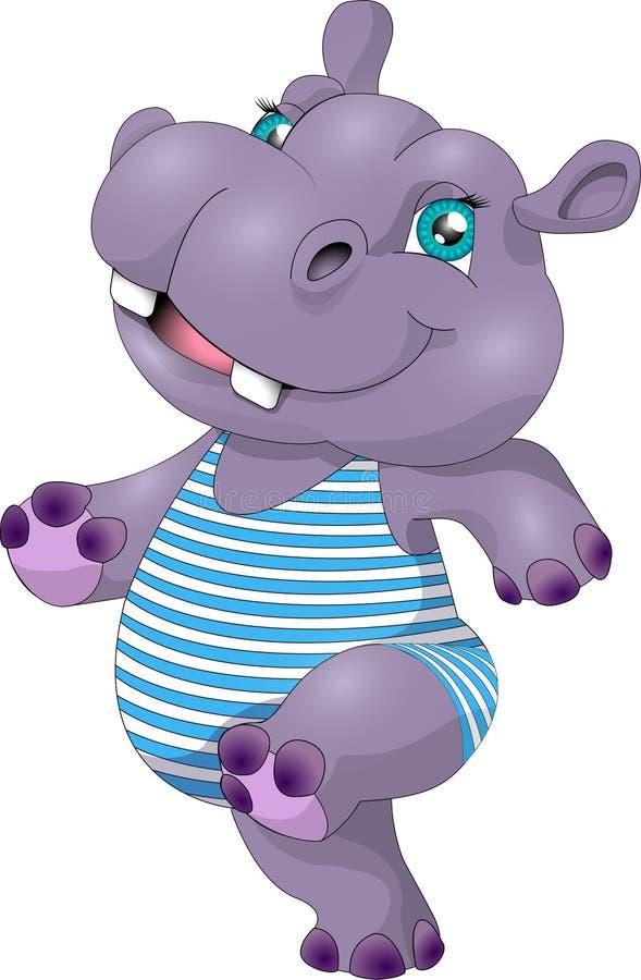 Hipopótamo engraçado Hippopotamus isolado no fundo branco ilustração royalty free