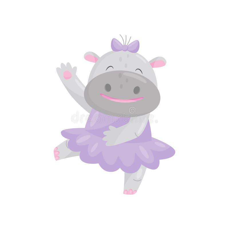 Hipopótamo feliz bonito com uma curva em um vestido roxo, ilustração animal do vetor do personagem de banda desenhada da gigante  ilustração stock