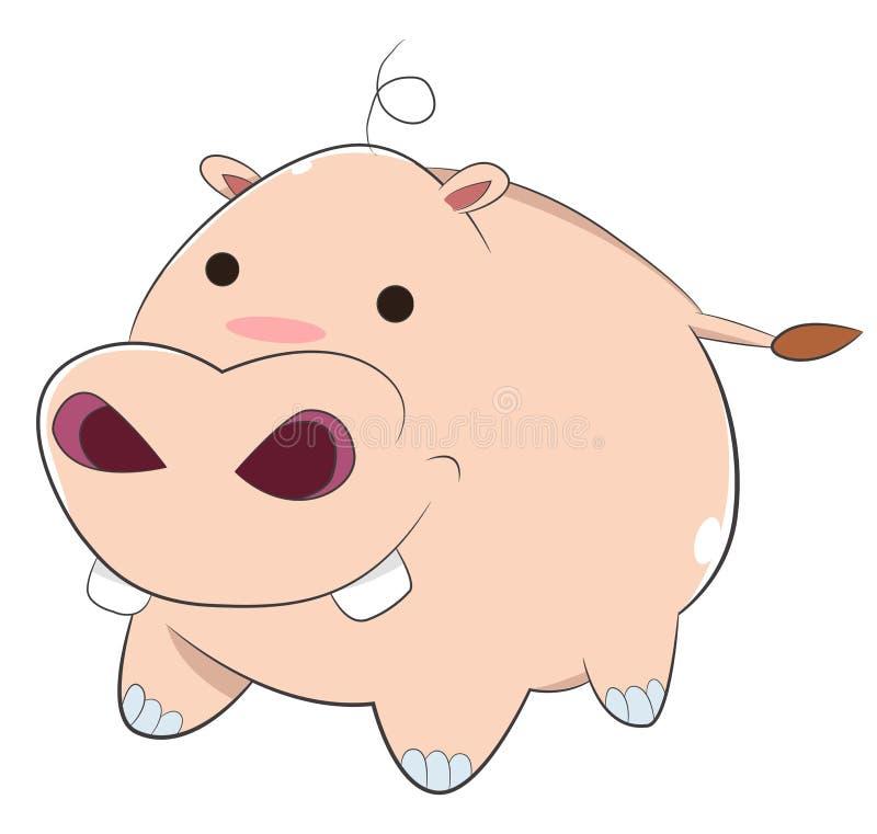 Hipopótamo feliz do bebê dos desenhos animados ilustração stock