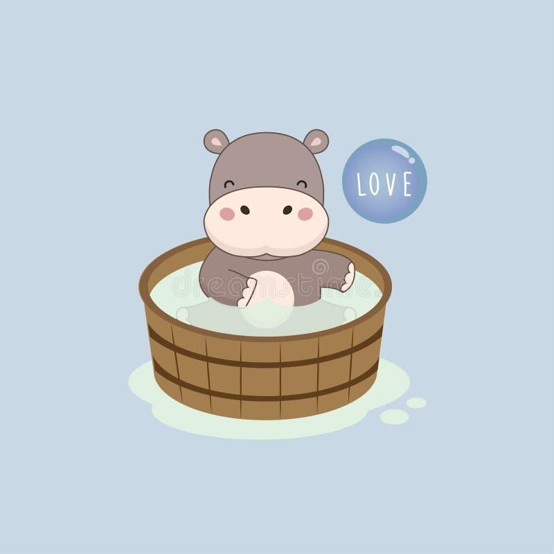 Hipopótamo feliz na banheira de madeira ilustração royalty free