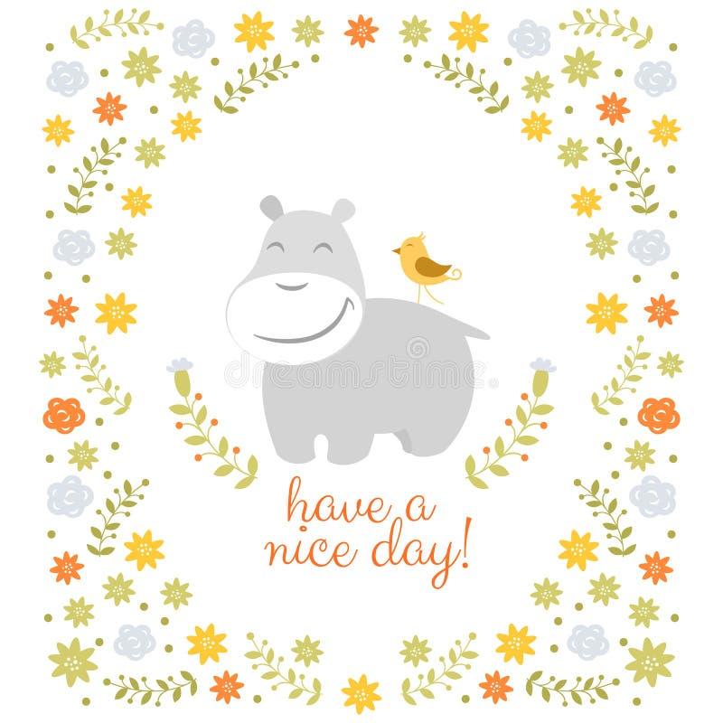 Hipopótamo feliz no fundo floral ilustração royalty free
