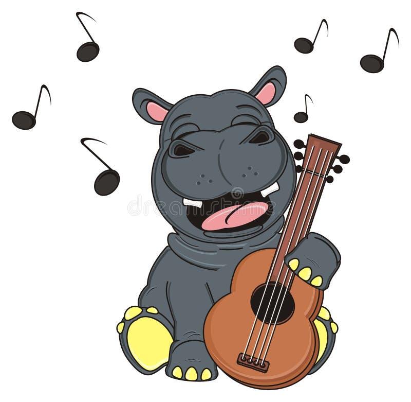 Hipopótamo feliz que canta com guitarra de madeira ilustração stock
