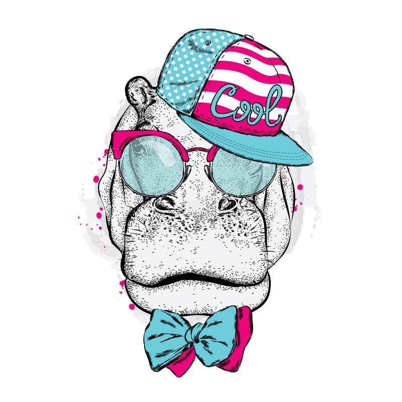 Hipopótamo fresco que veste um tampão e óculos de sol ilustração do vetor