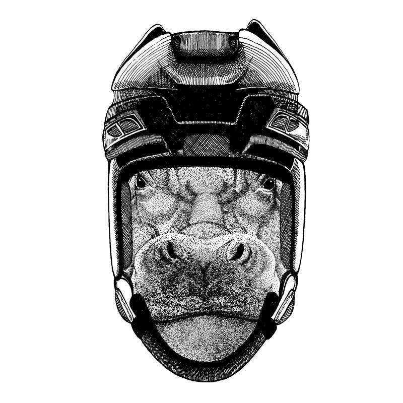 Hipopótamo, hipopótamo, gigante, rio-cavalo, capacete vestindo animal do hóquei Entregue a imagem tirada do le?o para a tatuagem, ilustração stock
