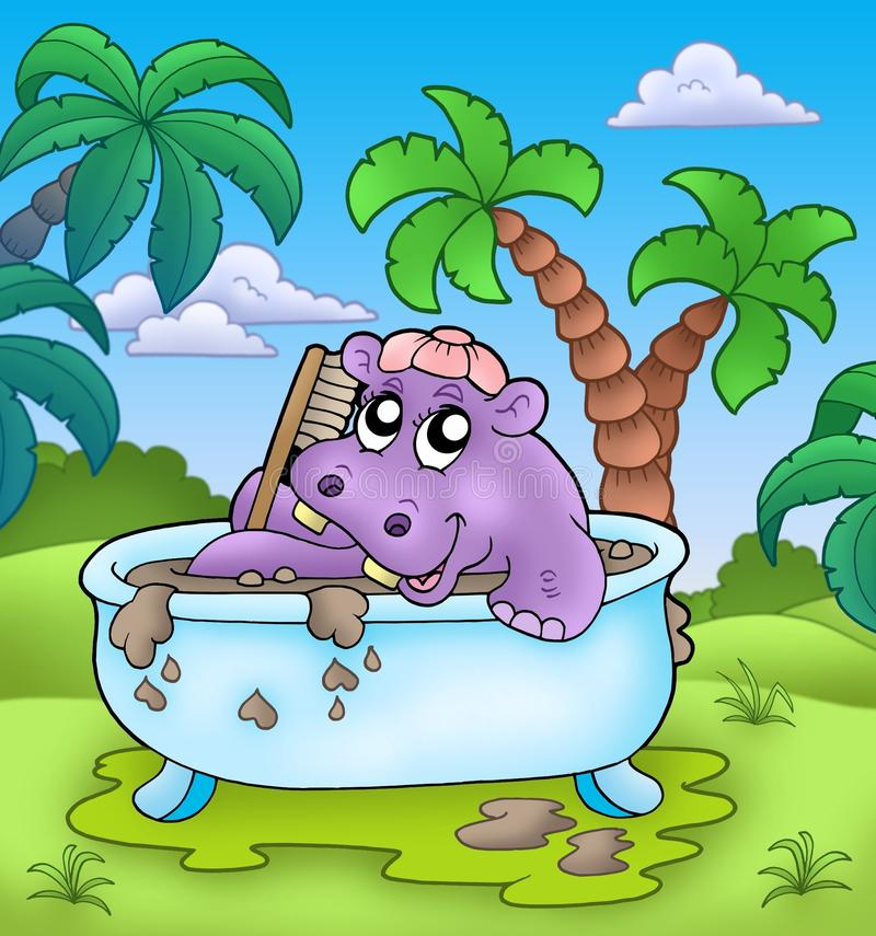 Hipopótamo lindo que toma el baño de fango ilustración del vector