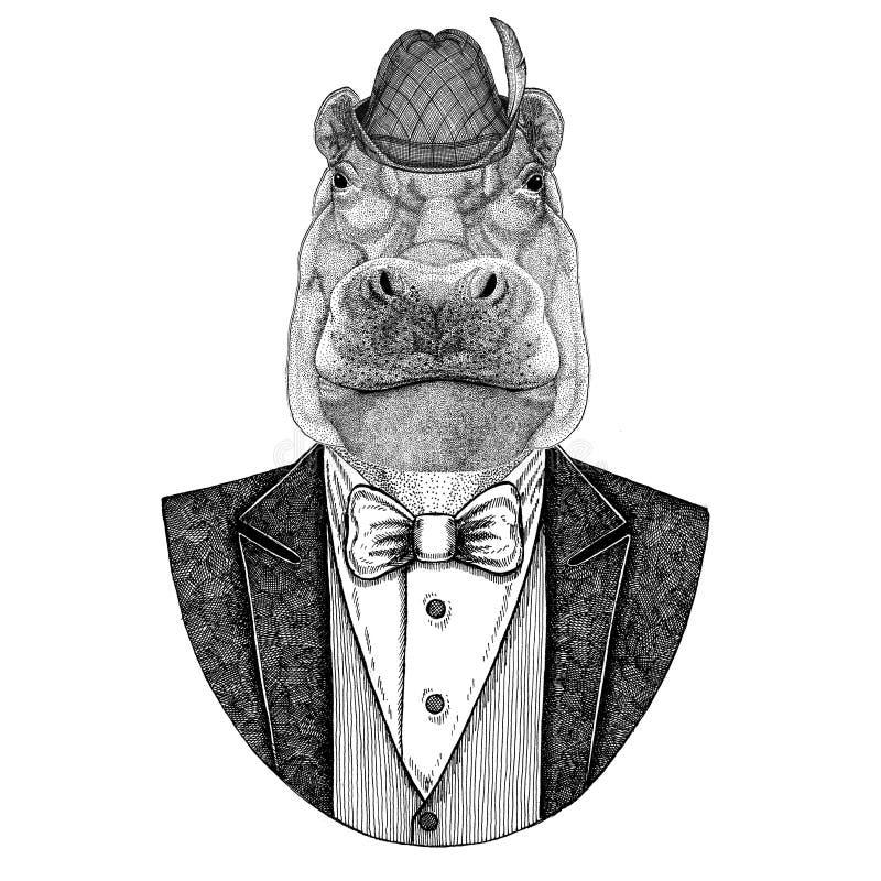 Hipopótamo nacional bávaro do chapéu do chapéu de Tirol do alemão, hipopótamo, gigante, rio-cavalo ilustração royalty free