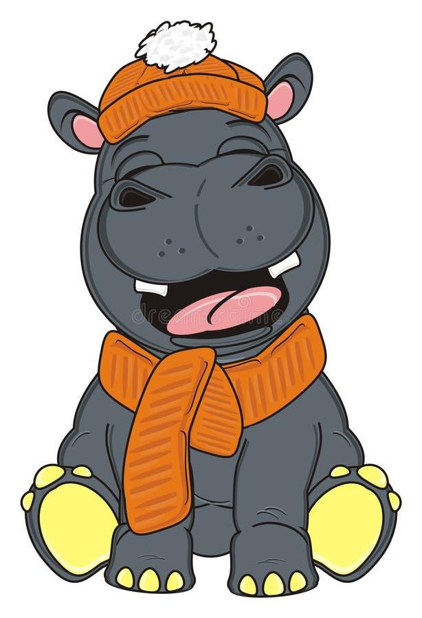 Hipopótamo no chapéu e no lenço do inverno ilustração do vetor