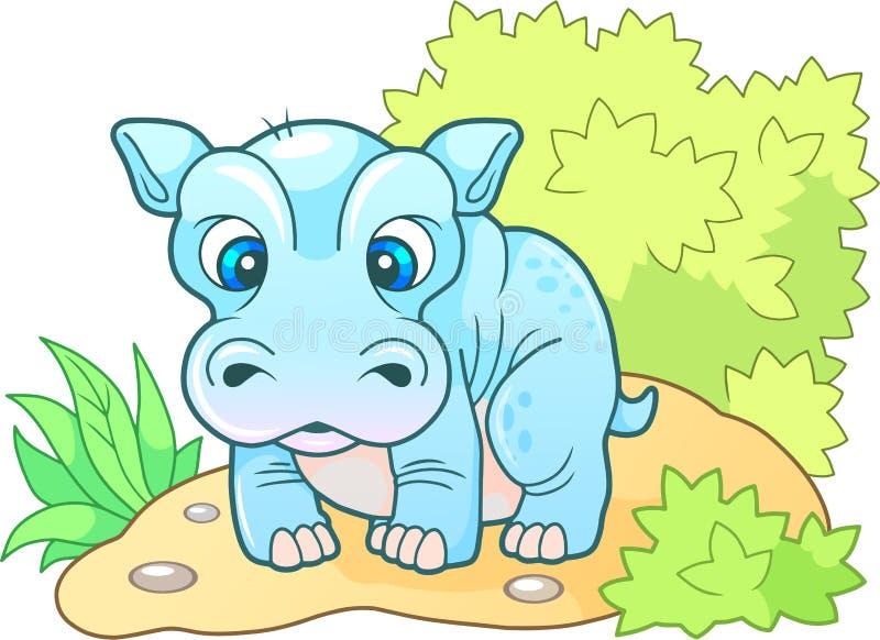 Hipopótamo pequeno bonito, ilustração engraçada do projeto ilustração do vetor