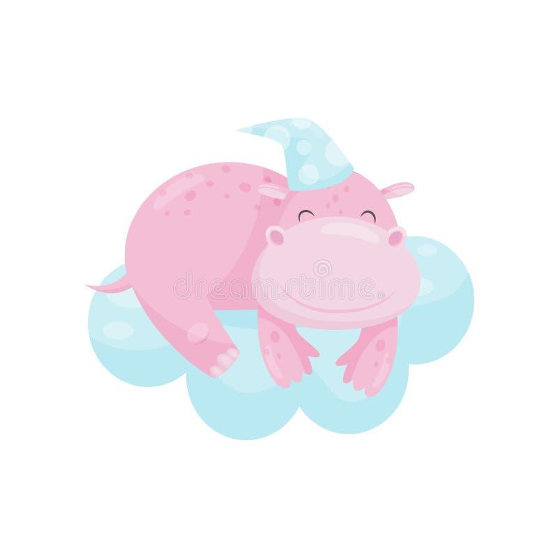 Hipopótamo pequeno bonito que dorme em uma nuvem, personagem de banda desenhada animal bonito, elemento do projeto da boa noite,  ilustração do vetor
