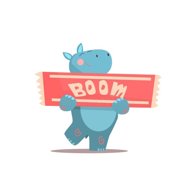 Hipopótamo que guarda o sinal do crescimento ilustração do vetor
