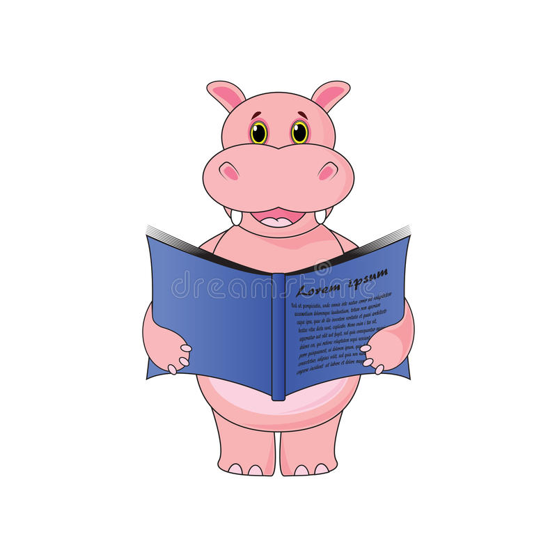 Hipopótamo que guarda um livro no fundo branco no vetor ilustração royalty free