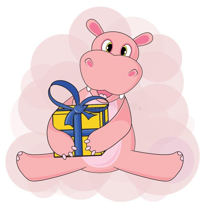 Hipopótamo que senta e que guarda o presente no fundo branco no vetor ilustração stock