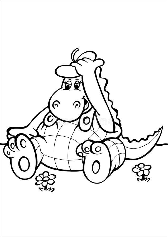 Hipopótamo que senta-se em um prado ilustração do vetor