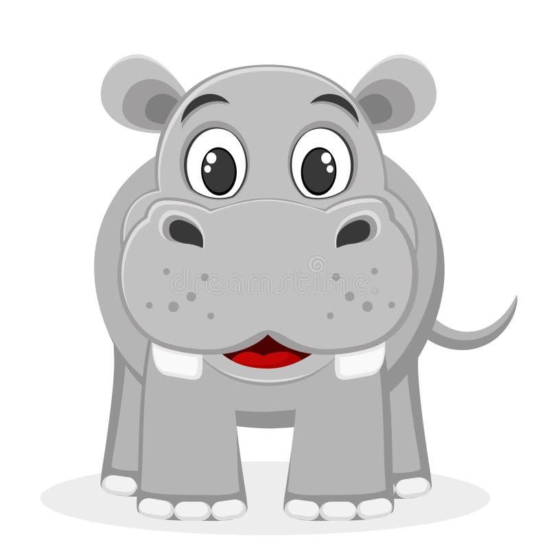 Hipopótamo que sorri em um branco O caráter da natureza selvagem ilustração royalty free
