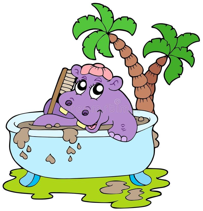 Hipopótamo que toma o banho de lama ilustração do vetor