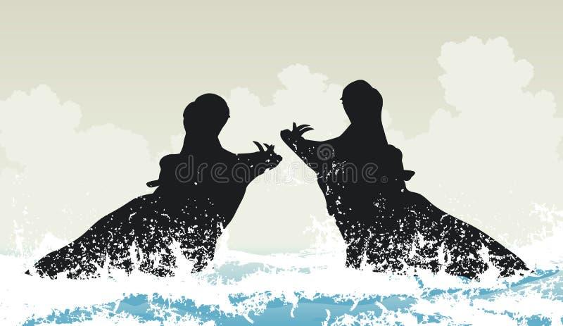 Hipopótamos de combate ilustração do vetor