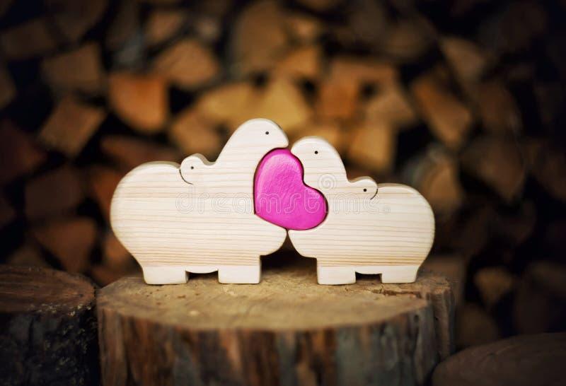 Hipopótamos do amor fotografia de stock
