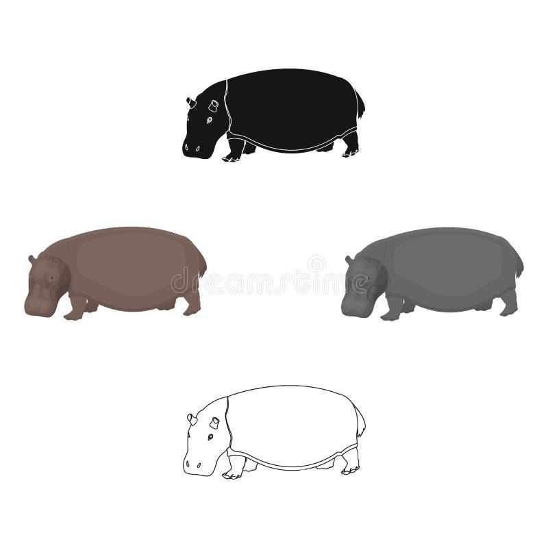 Hipop?tamo, um animal on?voro do artiodactyl O único ícone do grande hipopótamo africano nos desenhos animados, vetor preto do es ilustração do vetor