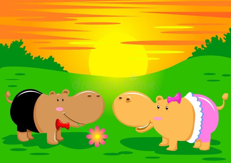 hipopo miłość ilustracja wektor