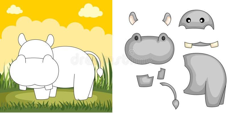 hipopotam łamigłówka ilustracji