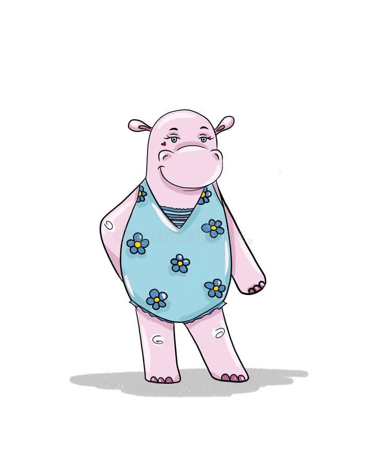 Hipopotam dziewczyna iść sunbathe royalty ilustracja