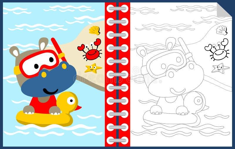 Hipopotam kreskówki dopłynięcie z przyjaciółmi, kolorystyki książką lub stroną, royalty ilustracja