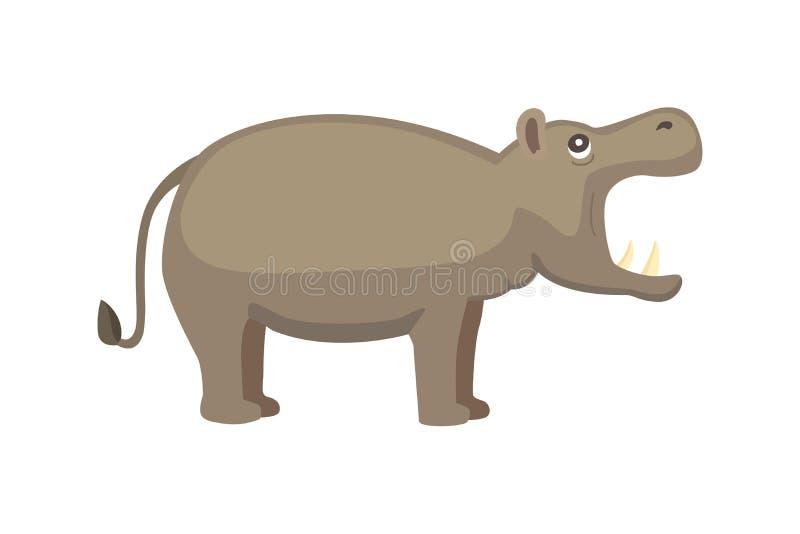 Hipopotam kreskówki stylu wektor Dziki trawożerny zwierzę afrykańskie fauny ilustracji