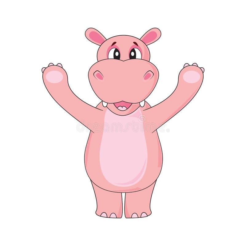 Hipopotam macha łapę na białym tle w wektorze ilustracji