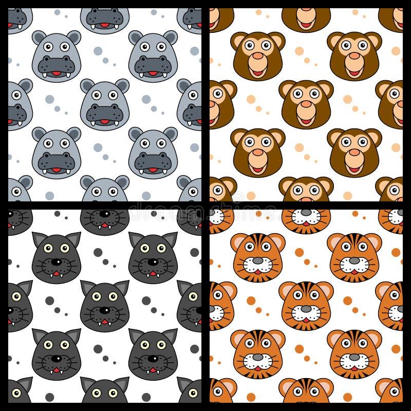Hipopotam pantery Małpi tygrys Bezszwowy ilustracji