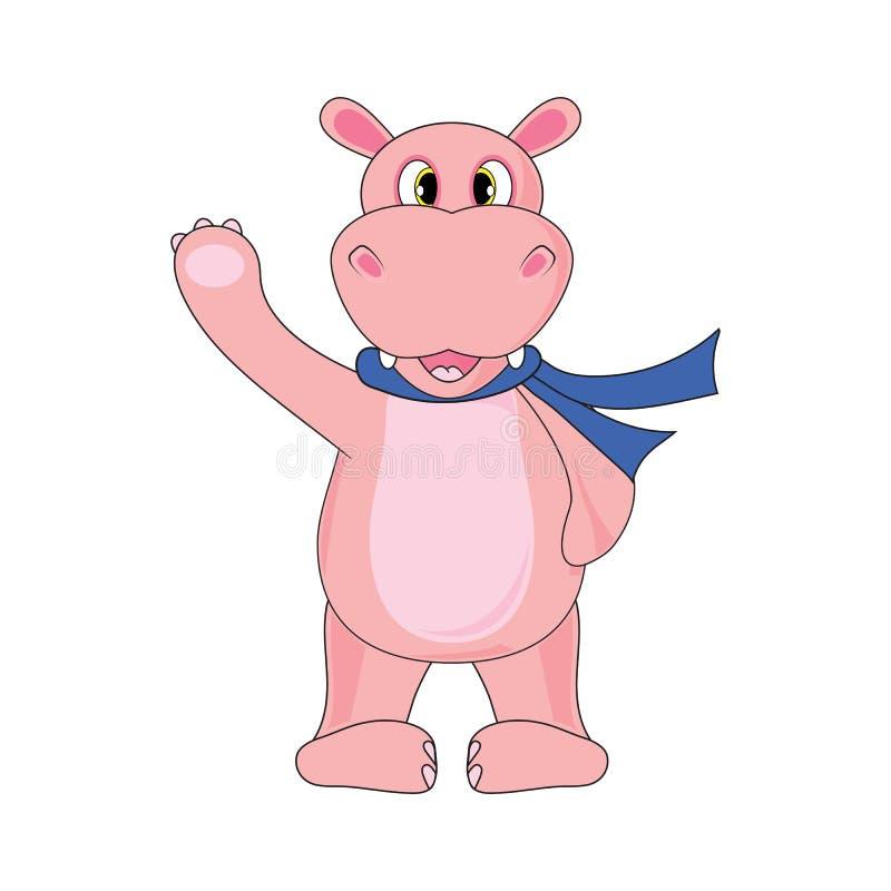Hipopotam w szaliku na białym tle w wektorze royalty ilustracja