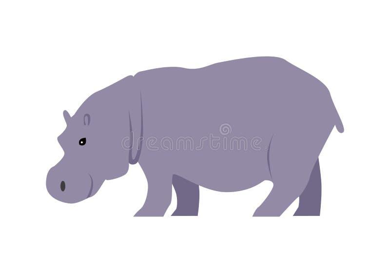 Hipopotam Wektorowa ilustracja w Płaskim projekcie royalty ilustracja