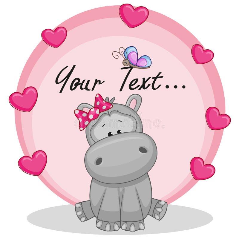 Hipopotam z sercami ilustracja wektor