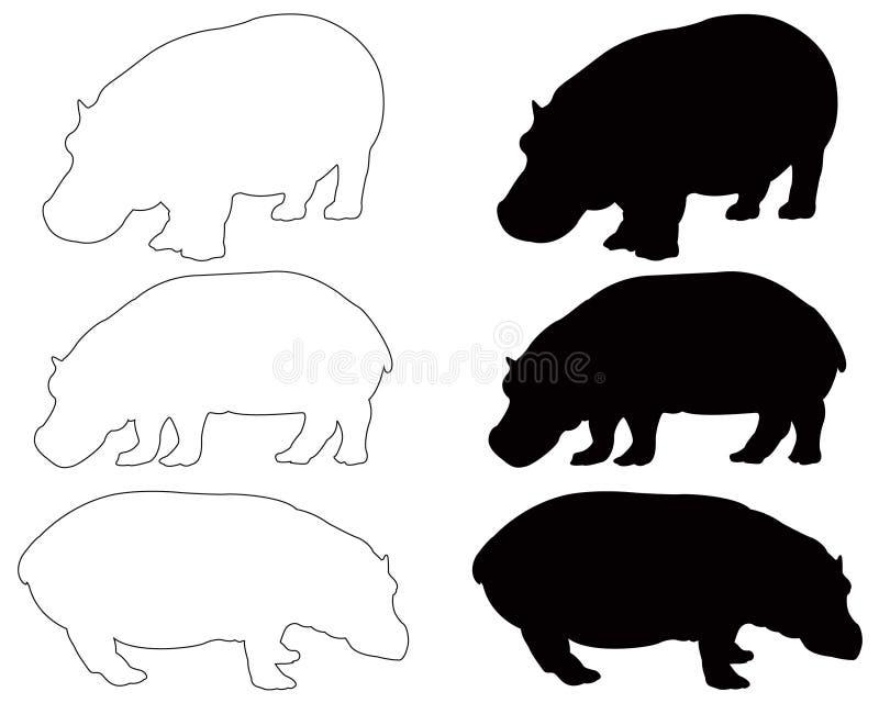 Hipopotama lub hipopotama sylwetka - wielki przyroda ssak ilustracji
