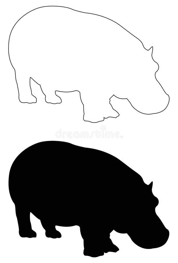 Hipopotama lub hipopotama sylwetka - wielki przyroda ssak ilustracja wektor