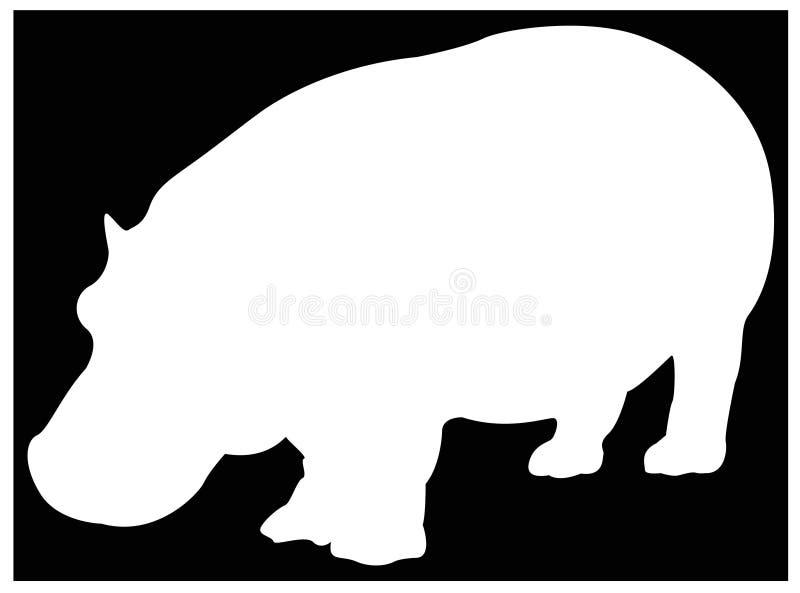 Hipopotama lub hipopotama sylwetka - wielki przyroda ssak royalty ilustracja