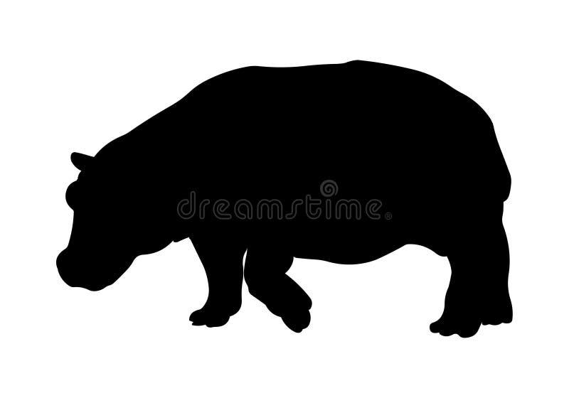 Hipopotamowa wektorowa ilustracyjna czarna sylwetka ilustracja wektor