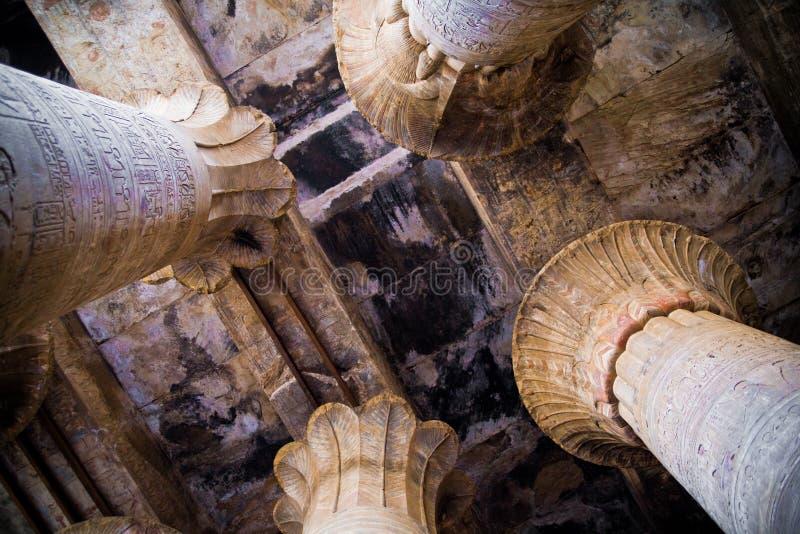 Hipostyl sala świątynia Horus w Edfu zdjęcie stock