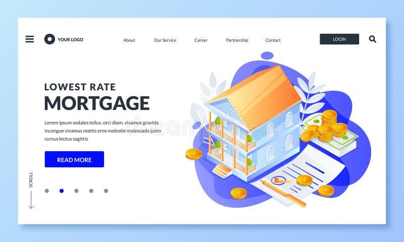 Hipoteca da casa, conceito do empréstimo de bens imobiliários Ilustração isométrica do vetor 3d para a página de aterrissagem, ba ilustração royalty free