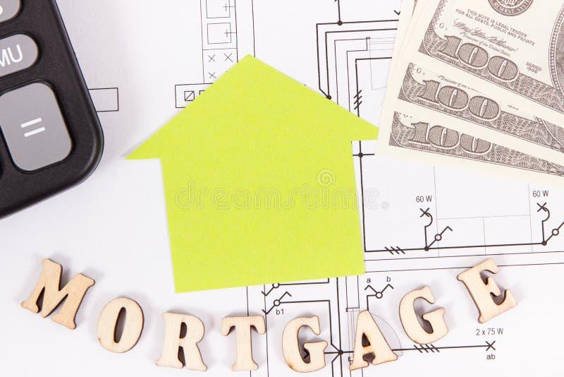 Hipoteca de la inscripción, dólar y calculadora en el dibujo eléctrico, cálculos de la compra o concepto de la casa del edificio fotos de archivo libres de regalías