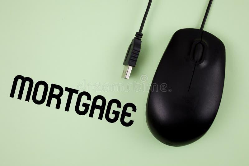 Hipoteca del texto de la escritura de la palabra Concepto del negocio para la derecha condicional de la propiedad al prestamista  imagen de archivo