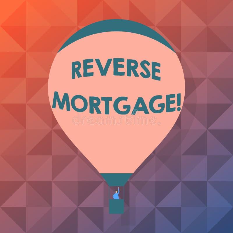 Hipoteca do reverso do texto da escrita da palavra Conceito do negócio para o acordo financeiro que o proprietário abandona a pla ilustração do vetor