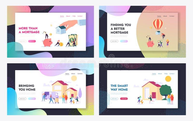 Hipoteca e grupo de compra dos moldes da página da aterrissagem do Web site do conceito da casa Devedor que faz o pagamento para ilustração royalty free