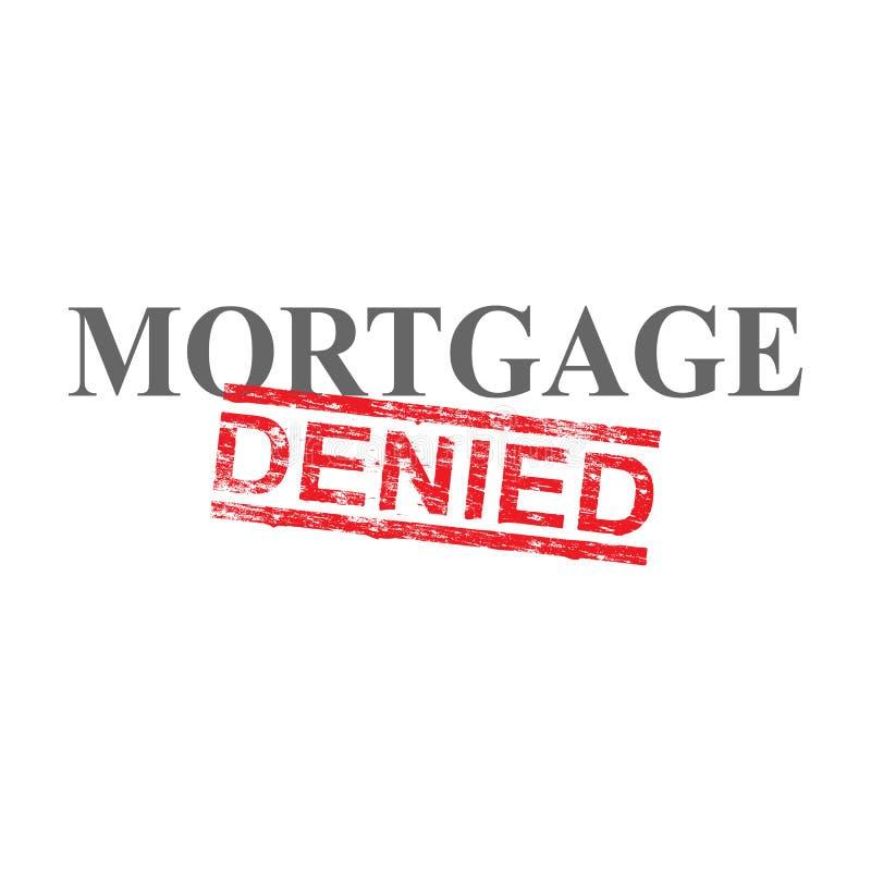 A hipoteca negou o selo da palavra ilustração stock