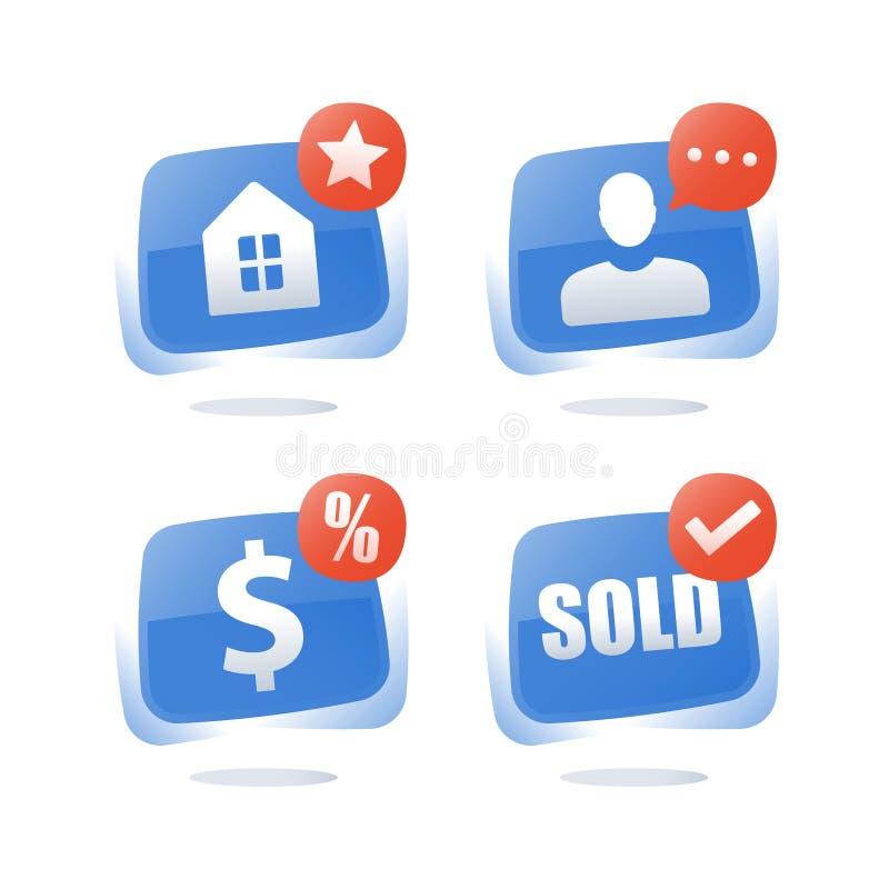 Hipoteczna pożyczka, nieruchomość, zakupu dom, bubla dom, wynajem usługa, finanse i inwestycja, płatnicza zaliczka, gospodarstwo  ilustracji