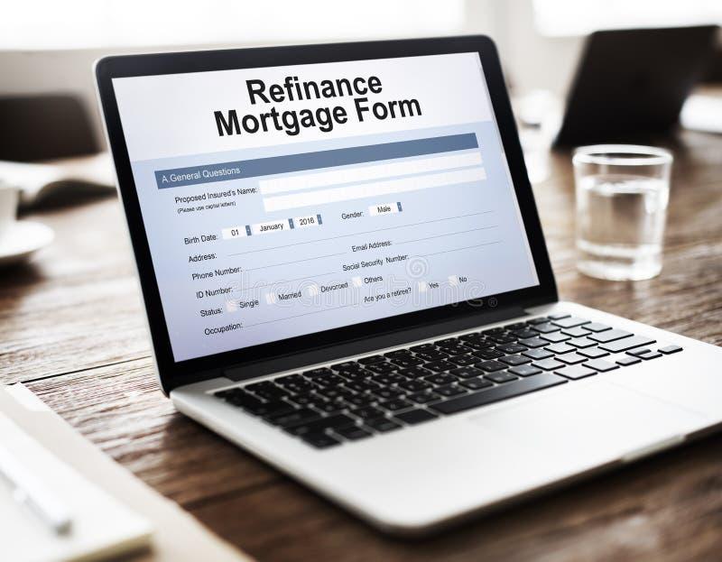 Hipotecznej pożyczki Zastawniczy przyrzeczenie Refinansuje Ubezpieczy pojęcie zdjęcie stock