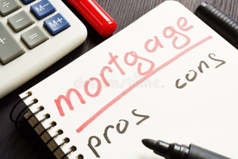 Hipoteczni argument za kantują piszą w notatce - i - zdjęcie royalty free