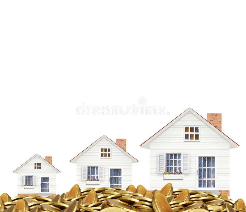 Hipoteczny pojęcie pieniądze domem od monet zdjęcia stock